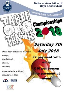 National Table Tennis Championships 2018 NABGC Saturday 7th July 2018 @ Deans Sport and Leisure (Lincoln College) | England | United Kingdom